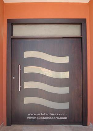 Pin modernas madera and post puertas principales - Puertas de madera para entrada principal ...